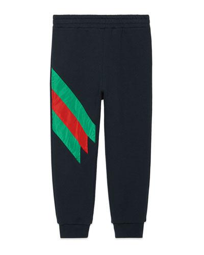 Jogging Pants w/ Stripe Trim, Size 4-12