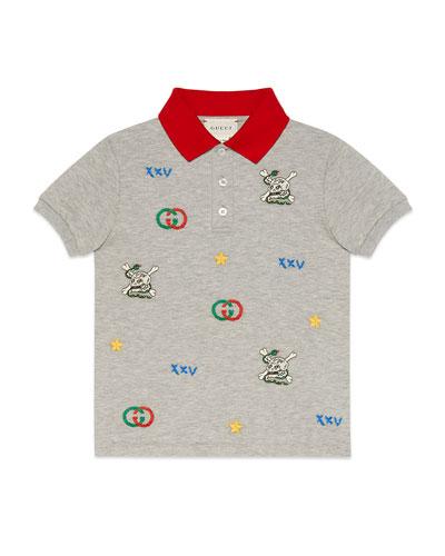 Heathered Short-Sleeve Polo Shirt w/ Logo Embroidery, Size 4-12