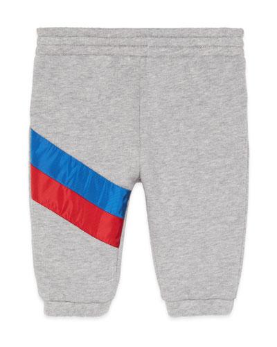 Jogging Pants w/ Diagonal Stripe Trim, Size 6-36 Months