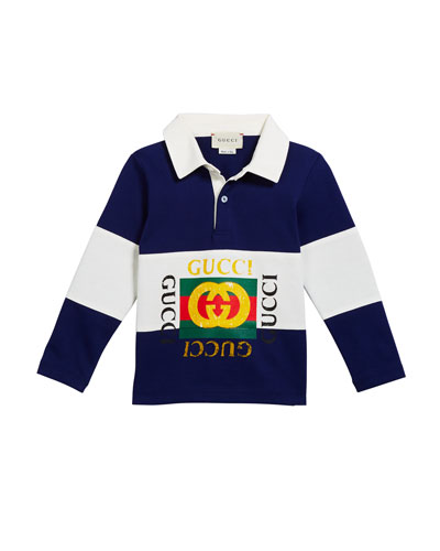 Boy's Logo Rugby Stripe Polo Shirt, Size 12-36 Months