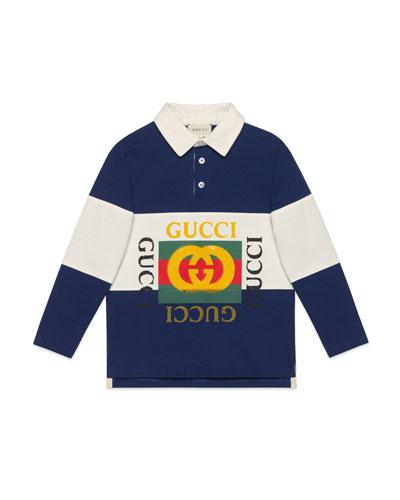 Logo Rugby Stripe Polo Shirt, Size 4-10