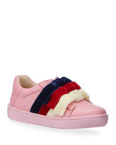 Girl's New Ace Velvet-Web Bow Sneakers, Toddler