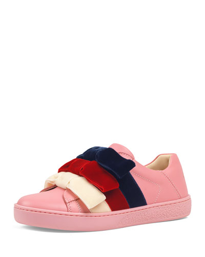 Girl's New Ace Velvet-Web Bow Sneakers, Toddler/Kids