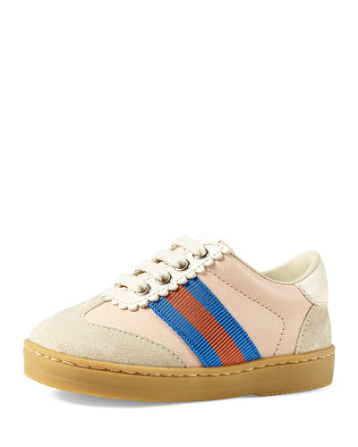Leather & Suede Low-Top Sneakers, Baby/Toddler
