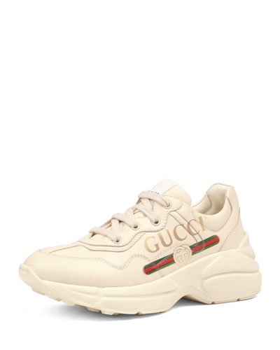 Gucci Logo Leather Sneakers, Toddler/Kids