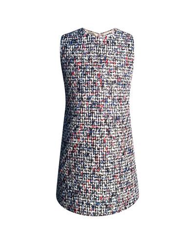 Diamond Tweed Sleeveless Dress, Size 7-14