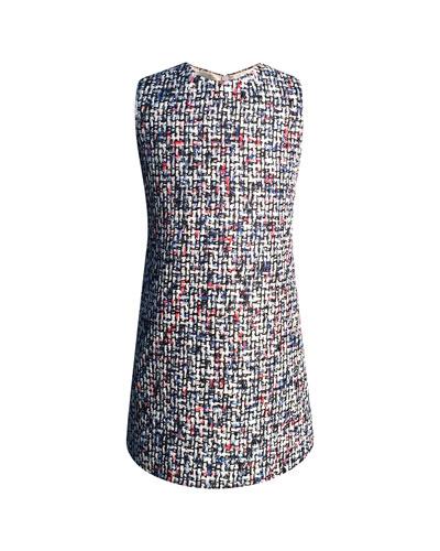 Diamond Tweed Sleeveless Dress, Size 2-6