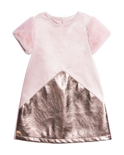 Stretchy Faux Suede Metallic-Trim Dress, Size 7-14