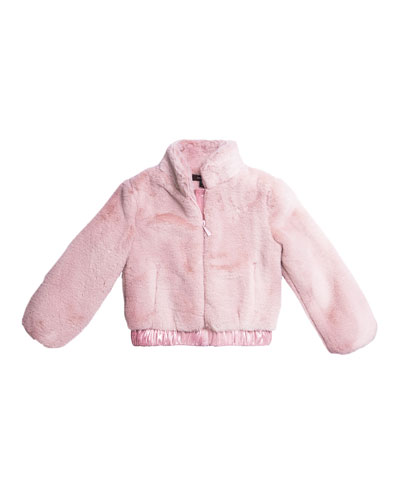 Faux Fur Zip-Up Jacket, Size 7-14