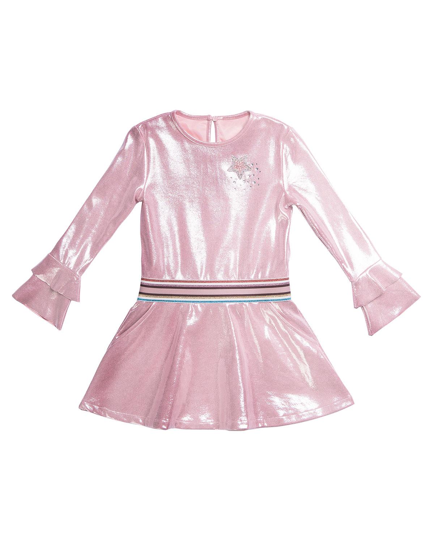 Imoga LONG-SLEEVE METALLIC FAUX SUEDE DRESS