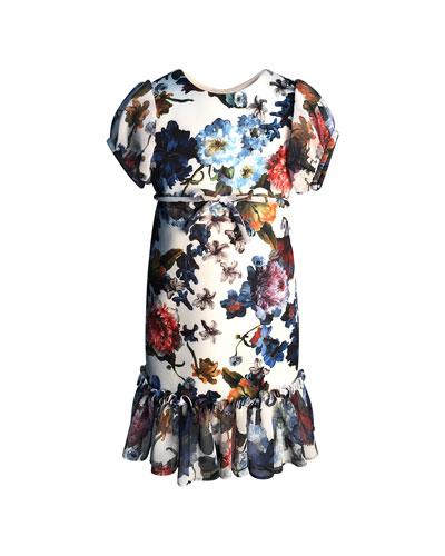 Floral-Print Short-Sleeve Ruffle-Hem Chiffon Combo Dress, Size 7-14