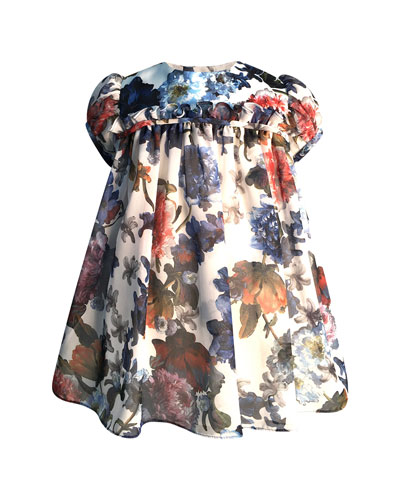 Girl's Puffy Sleeve Floral Dress, Size 6-18 Months