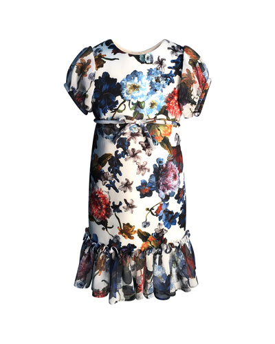 Floral-Print Short-Sleeve Ruffle-Hem Chiffon Combo Dress, Size 4-6