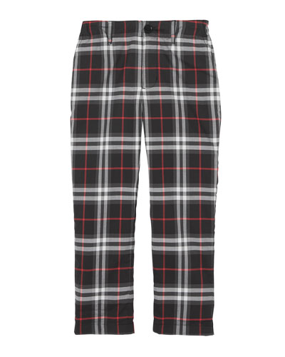 Teo Relaxed Check Twill Pants, Size 3-14