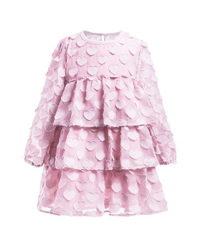 Chiffon Heart Long-Sleeve Dress, Size 4-6