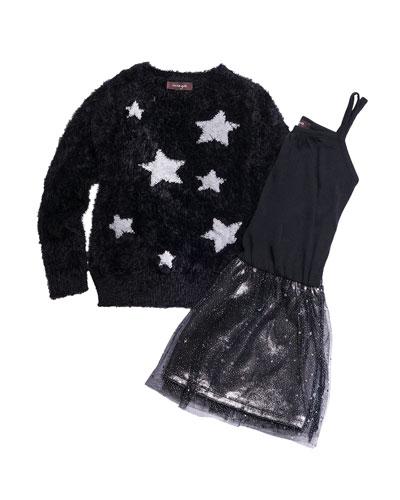 Sleeveless Chiffon Dress w/ Yarn Star Intarsia Sweater, Size 7-14