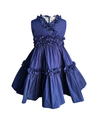 Ruffle-Trim Taffeta Dress, Size 2-6