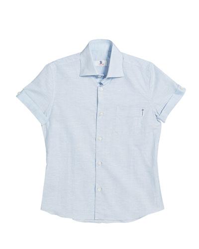 Kids' Striped Short-Sleeve Shirt, Size 6-14