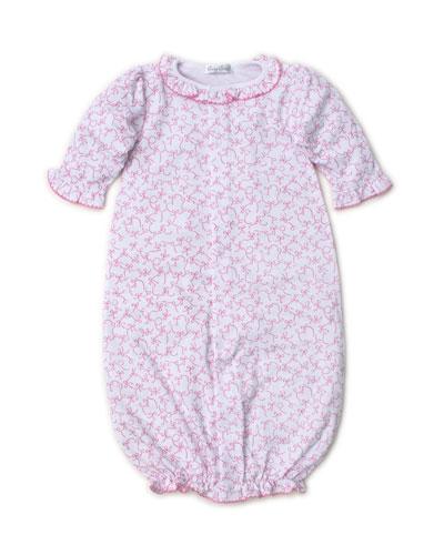 Twirly Toes Printed Ruffle-Trim Convertible Sleep Gown, Size Newborn-Small