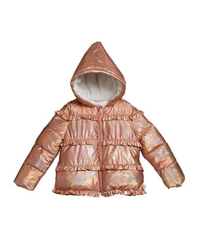 Girl's Puffer Hooded Jacket w/ Ruffle Trim, Size 4-12
