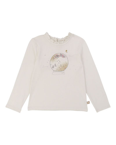 Girls' Snowglobe Long-Sleeve Top w/ Ruffle Collar, Size 4-12