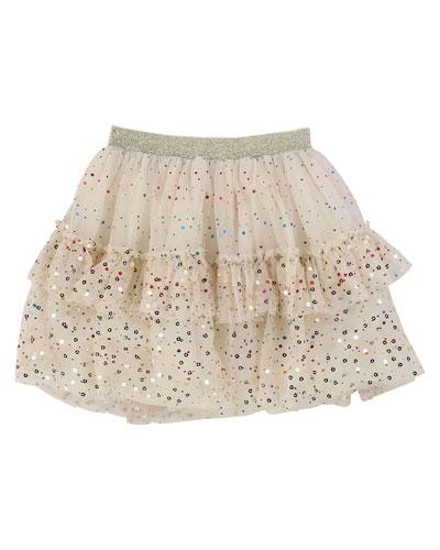 Metallic Printed Mesh Tutu Skirt, Size 4-12