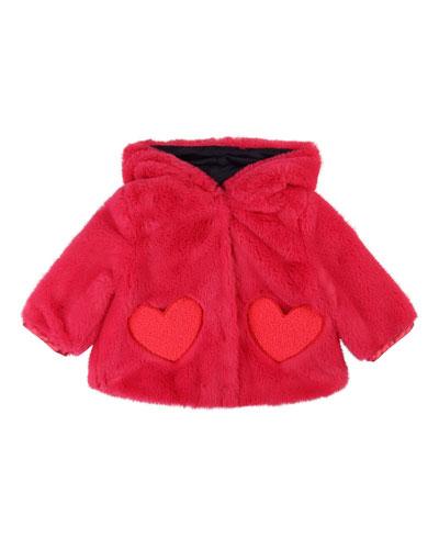 Girls' Faux-Fur Jacket w/ Heart-Shaped Pockets, Size 12 Months - 3