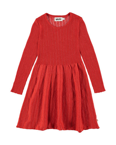 Cameron Ribbed Long-Sleeve Dress w/ Metallic Threading, Size 2T-12