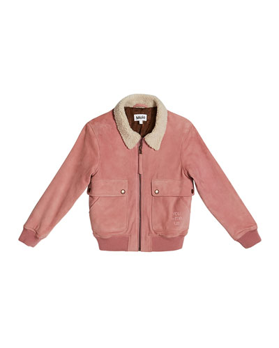 Hester Suede Jacket w/ Faux-Shearling Collar, Size 6-16