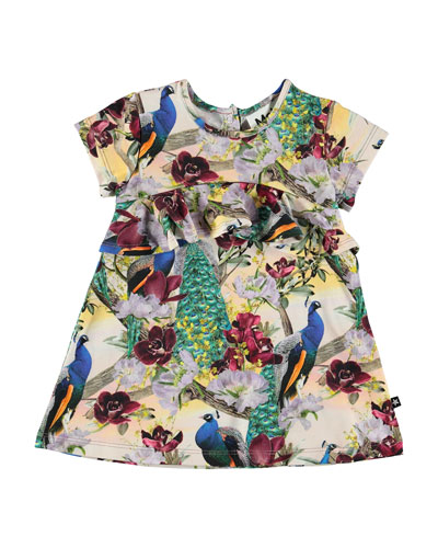 Cloud Peacock Print Short-Sleeve Dress, Size 6-24 Months