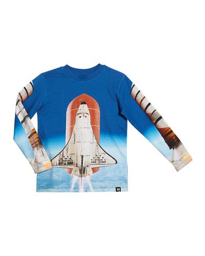 Reif Rocket Ship Print Long-Sleeve Tee, Size 4-12