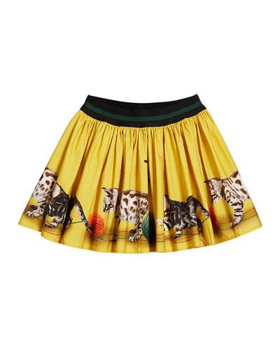 Brenda Kittens Playing Print Skirt, Size 2T-12
