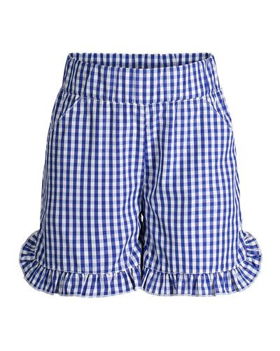 Ruffle Hem Gingham Shorts, Size 2-6X