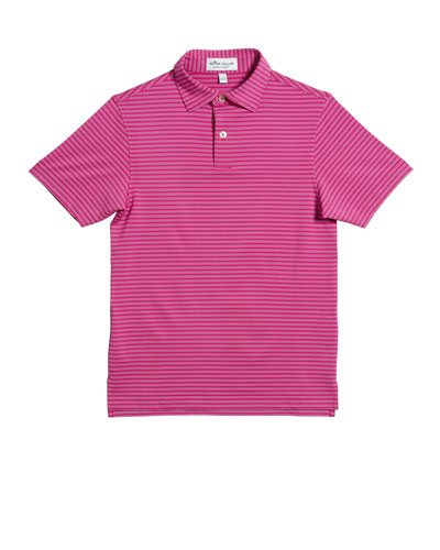 Boy's Stretch Stripe Polo Shirt, Size XS-XL