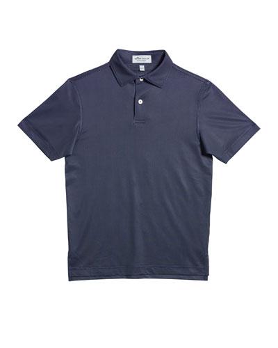 Boy's Micro Polka-Dot Short-Sleeve Polo Shirt, Size XS-XL