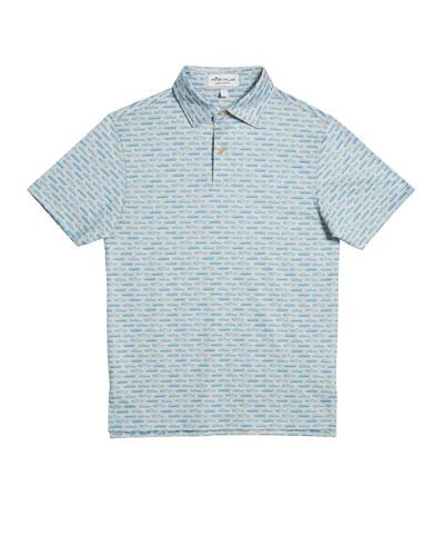 Boy's Car-Print Jersey Polo Shirt, Size XS-XL