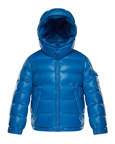 Quilted Hooded Nylon Puffer Jacket, Size 4-6