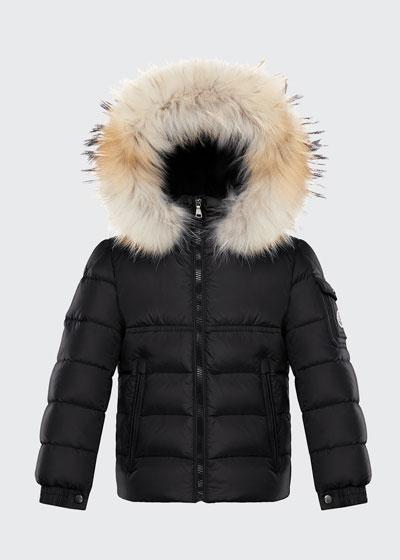 Boy's New Byron Hooded Jacket w/ Fox Fur Trim, Size 4-6