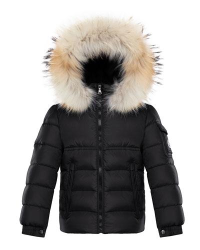 Boy's New Byron Hooded Jacket w/ Fox Fur Trim, Size 8-14