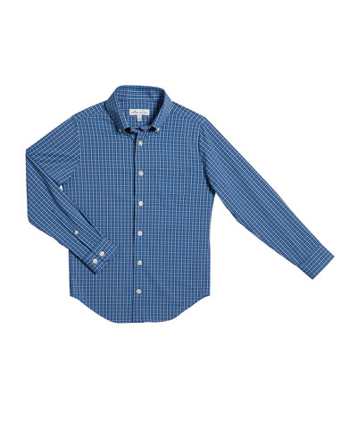 Boy's Check Tattersall Button-Down Shirt, Size XS-XL
