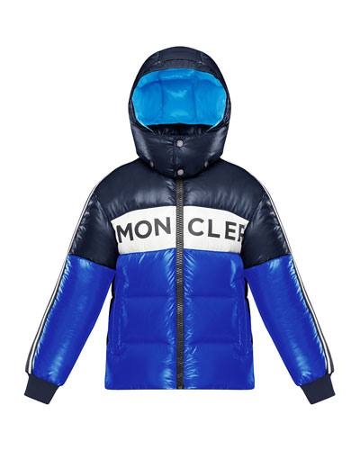 Tricolor Logo Hooded Puffer Jacket, Size 8-14
