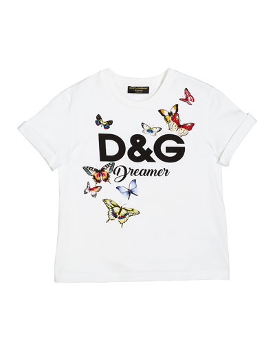 D&G Dreamer Butterfly Graphic Tee, Size 4-6