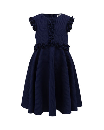 Waffle Knit Neoprene Dress, Size 4-8