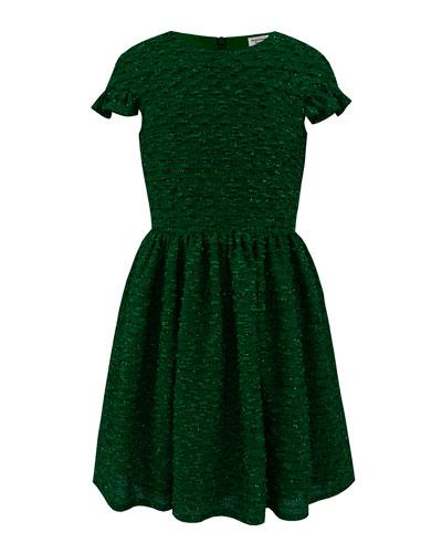 Boucle Sparkle Ruffle Cuff Dress, Size 10-16
