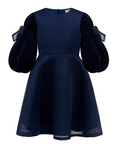 Velvet Bow Sleeve Dress, Size 4-8
