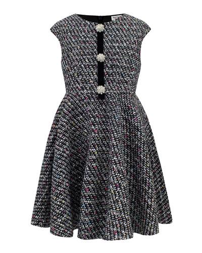Multi-Tweed Cap-Sleeve Dress, Size 4-8