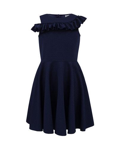 Asymmetric Ruffle One-Shoulder Knit Dress, Size 10-16