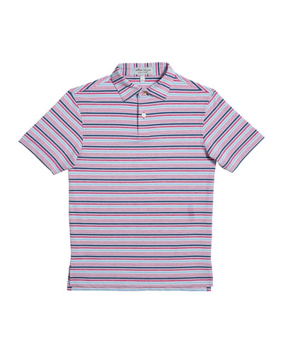 Boy's Agora Stripe Jersey Polo Shirt, Size XS-XL