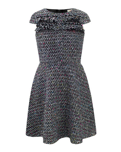 Multi-Tweed Fringe Dress, Size 10-16