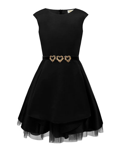 Satin Dress w/ Gold Heart Trim, Size 10-16